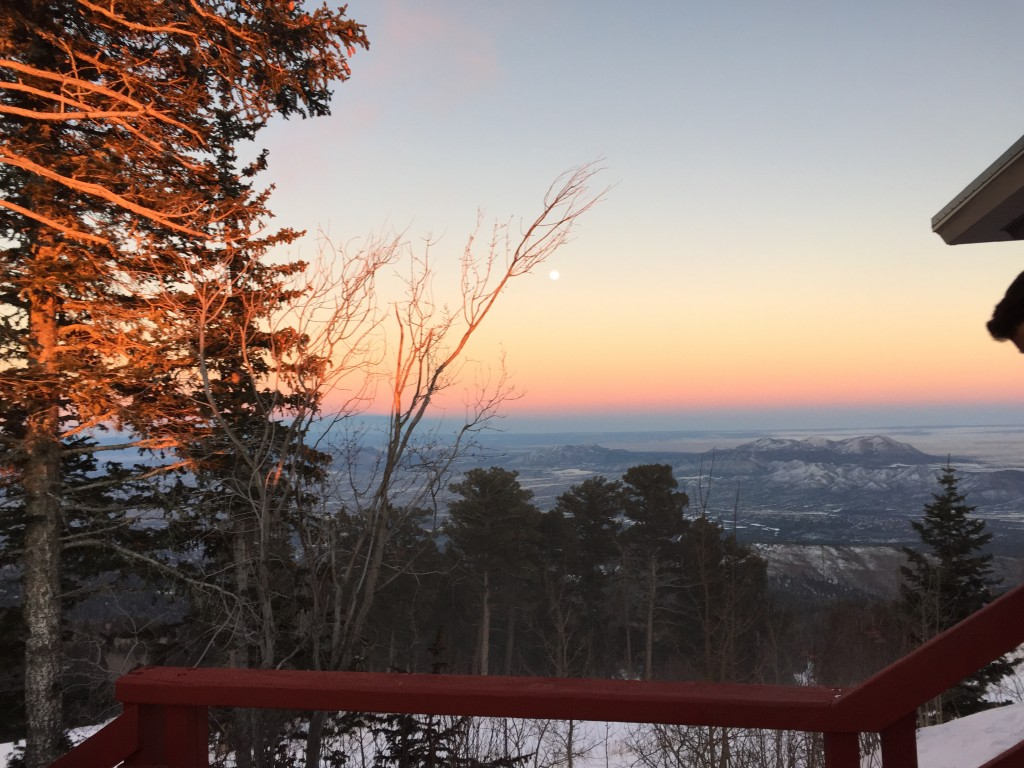 Top of the peak: Setting sun behind me, full moon before me, and a freezing wind right through me.