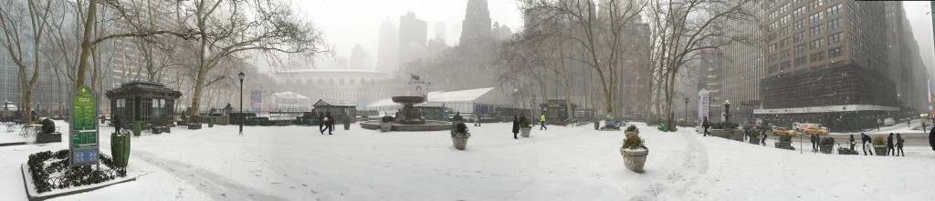 Bryant Park panorama, slightly fuzzy because I was moving the camera pretty fast due to standing in an oncoming blizzard