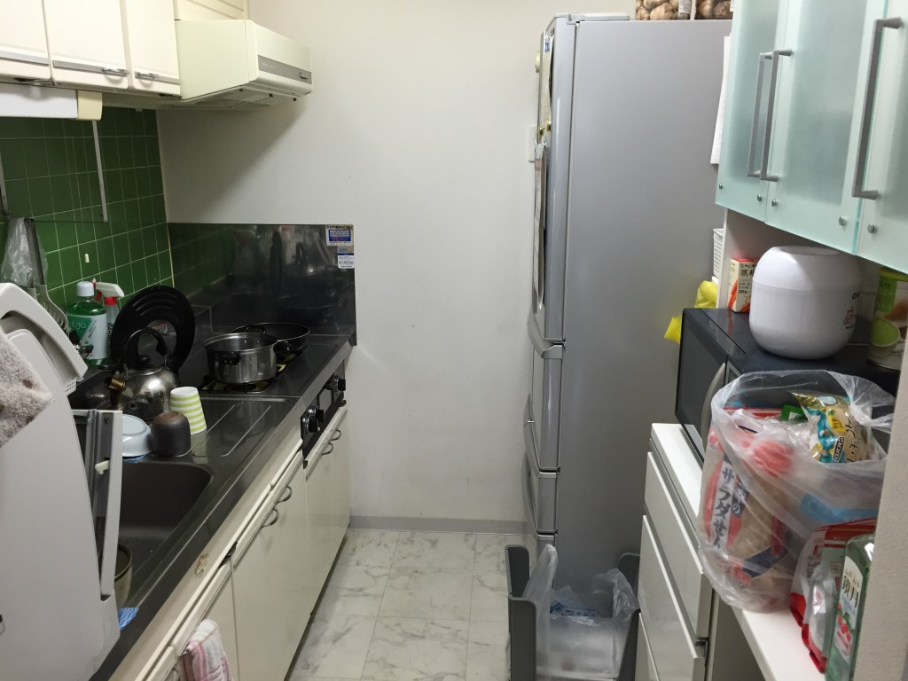 The very compact kitchen.  (Actually, not bad at all, by Japanese apartment standards. The fridge is especially modern and spacious.)