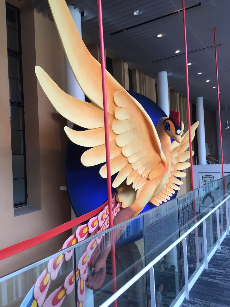 A huge, hanging display of Osamu Tezuka's Phoenix. (He created Astro Boy and quite a lot else, and laid the foundation of modern Japanese manga and anime.)