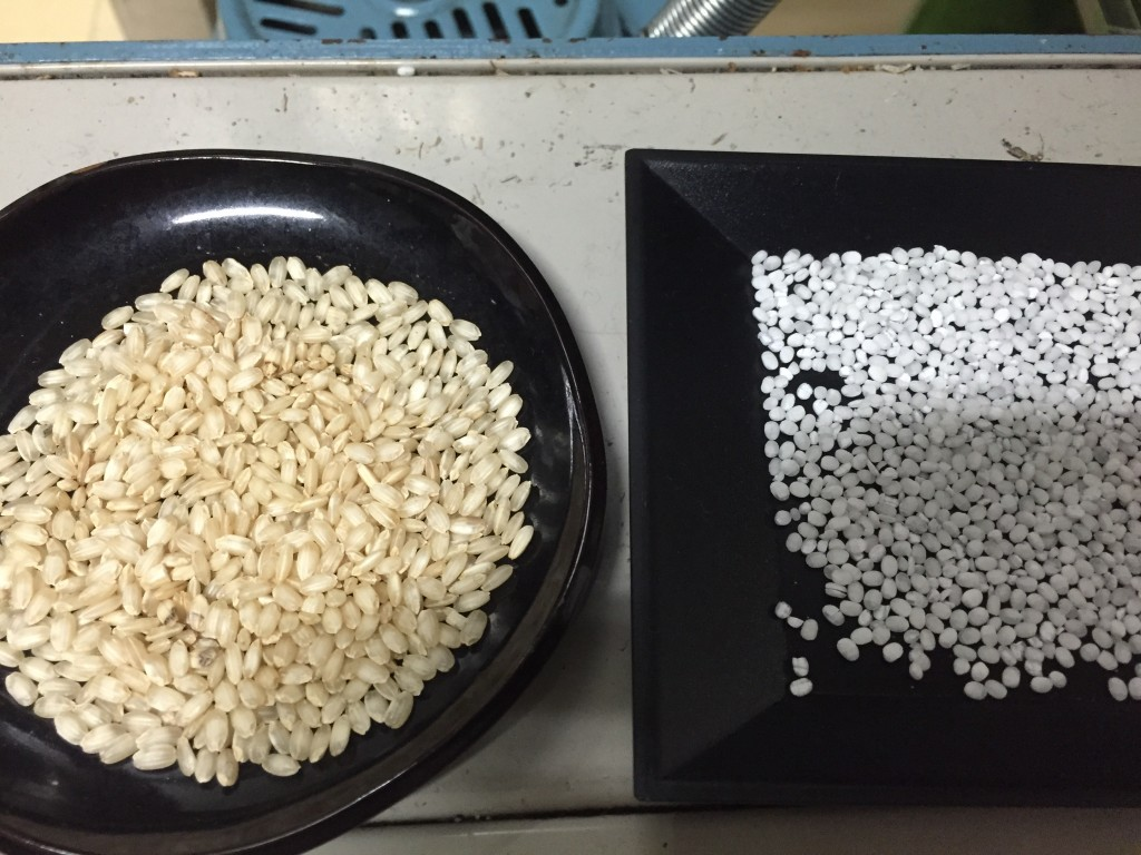 The rice on the right would be daiginjo grade, milled down to around 40-45% of it's original volume.