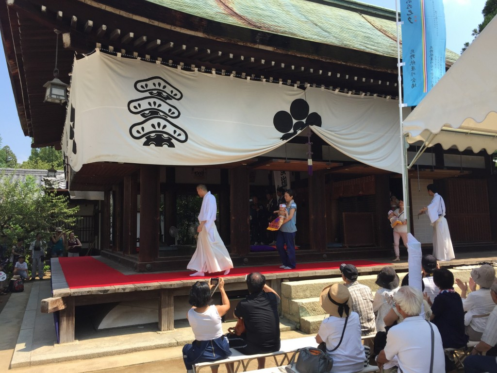 We went to a shrine next (it might have been the Heian Shrine, I'm not sure), where we were in time for the start of the annual baby wrestling event. This apparently involves seeing which baby will cry the longest. Ooooookay then.