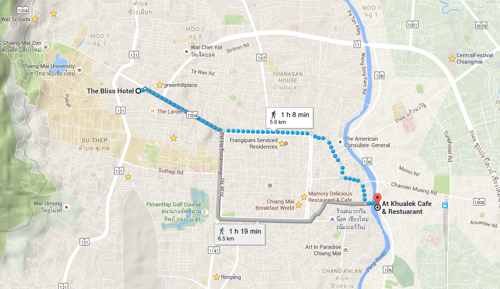 The walk to Kualek Cafe, in dotted blue. (Google insists on giving me a second choice in grey that takes 10 minutes longer. Tempting, but...)