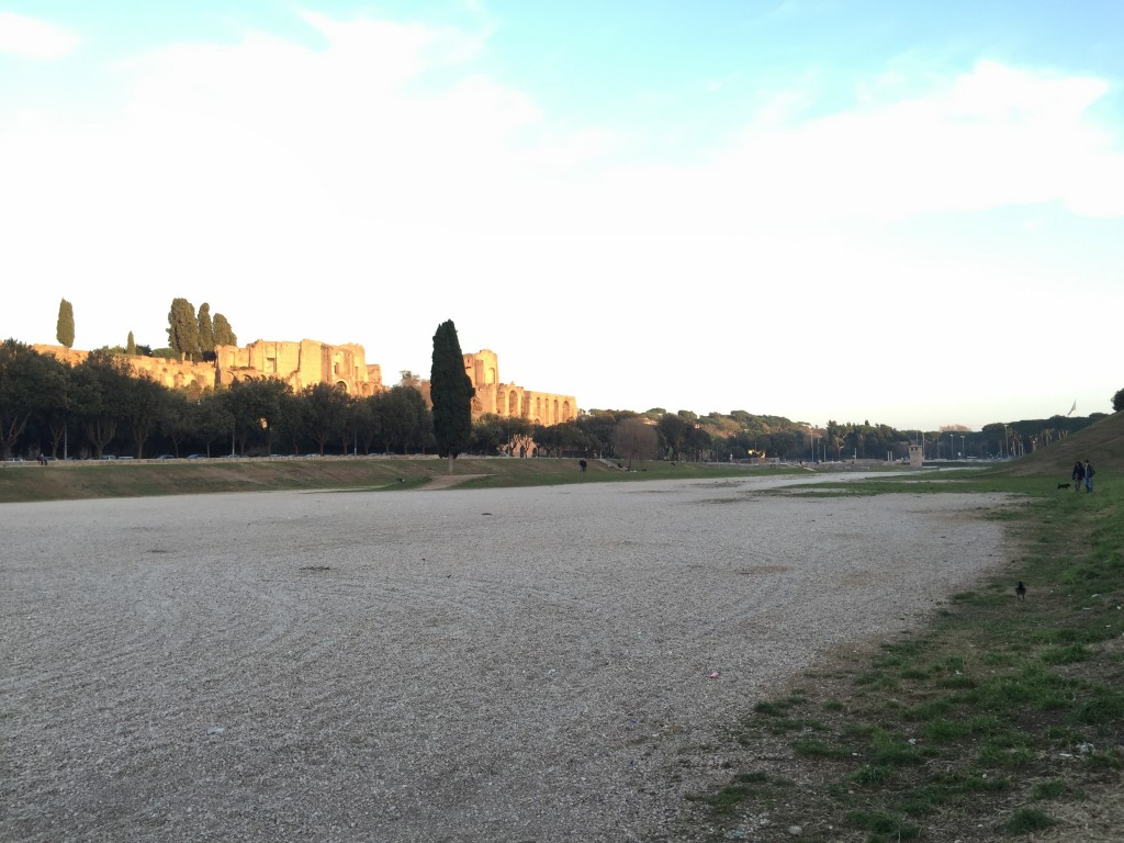 It's just an empty field now; with a bit of old building at one end. Considering the number of things that did get buried in Rome, I'm amazed no one built over this.