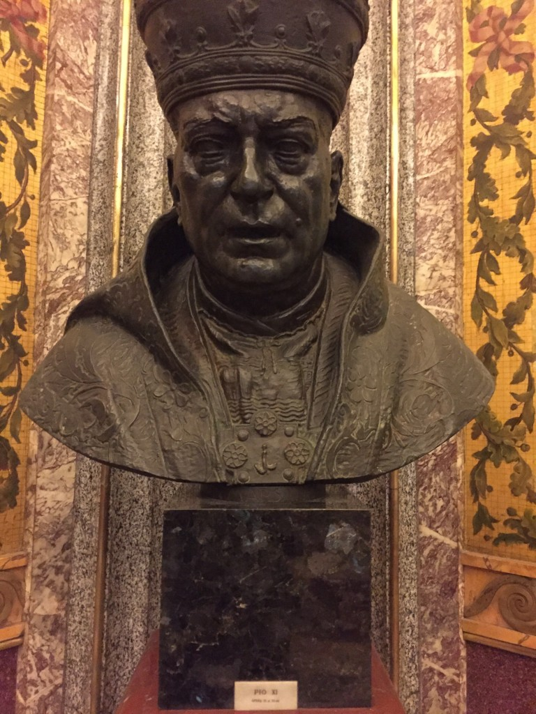 A remarkably realistic and honest-looking bust of Pope Pius XI.