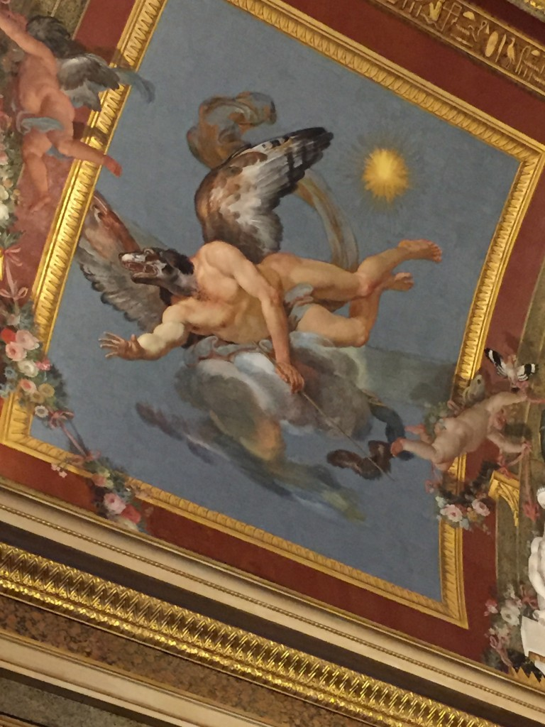 "When classical painters get bored. ""Yeah, ok, I need another image for the ceiling. Right, so I guess it will be another mostly naked guy, but probably with wings. And... damn, I don't know. Fuck it, give him a dog's head. And a riding crop. And chasing cupids. Yeah, sure, why not?"