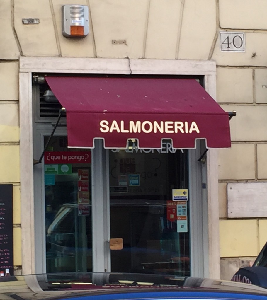 A warning from the Health Department that you could get salmonella eating here.