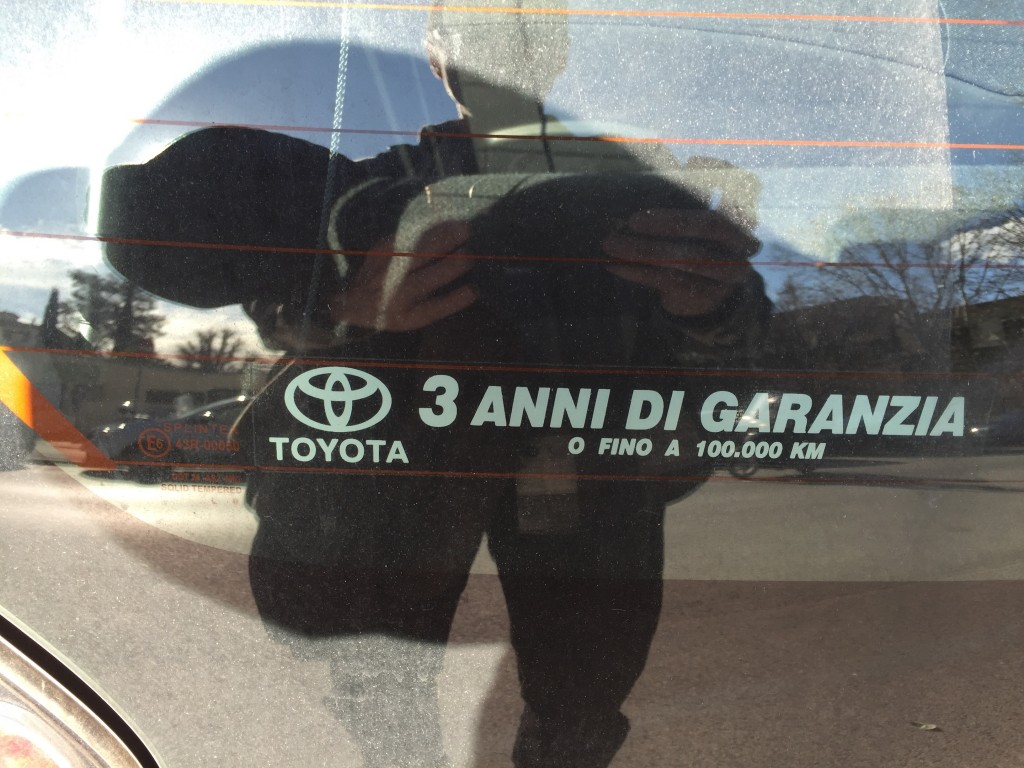 "This was on the back of a car; ""anni"" is probably related to ""annual""; and ""garanzi"" to ""guaranty"". So this quite certainly refers to a waranty for 3 years or 10,000 kilometers!"