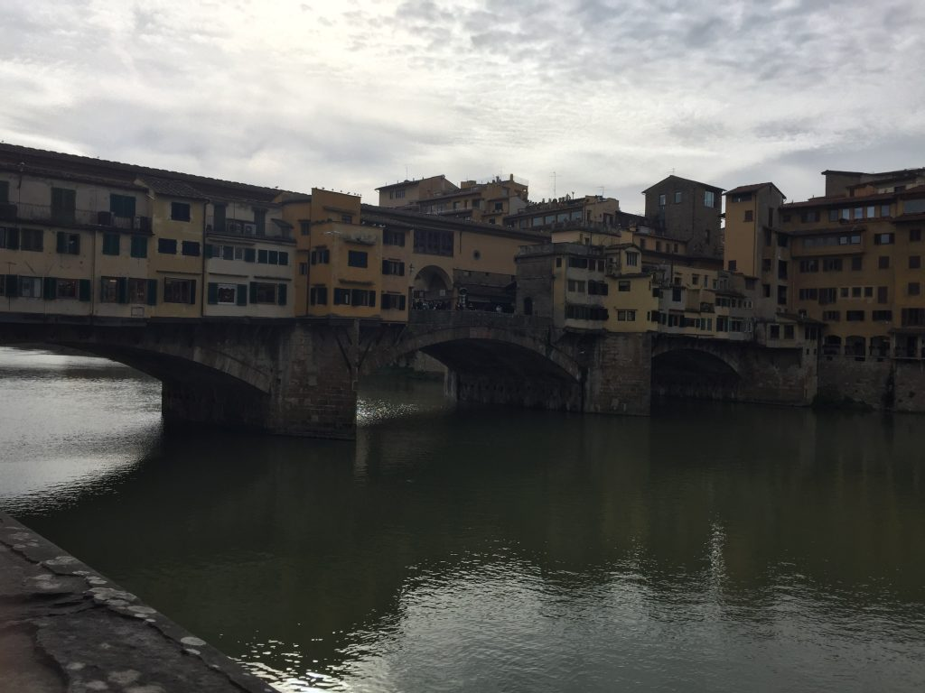 "This bridge with shops on it is one of the most famous sights of Florence, which I regard in the same light as I do the fame of the Mona Lisa, a small painting of a woman. Why it's particularly meaningful to anyone is beyond me (beyond any emotional content that you bring with you, like 'We had our honeymoon here, it was magical!"" and such)."