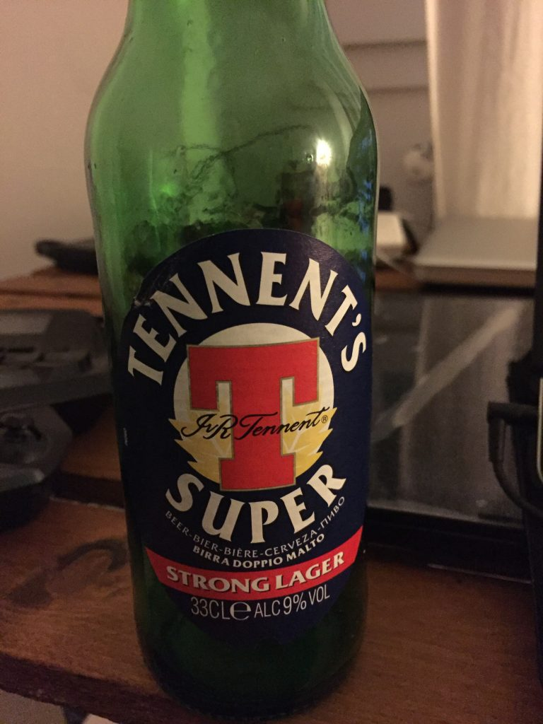 Tennent's Super Strong Lager. Surprisingly tasty, for a lager, and 9% alcohol so good for a buzz.