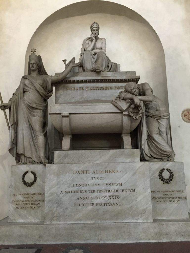 Dante's monument. Not a tomb, it turns out, as he was in exile when he died. But, forgive and forget I guess.