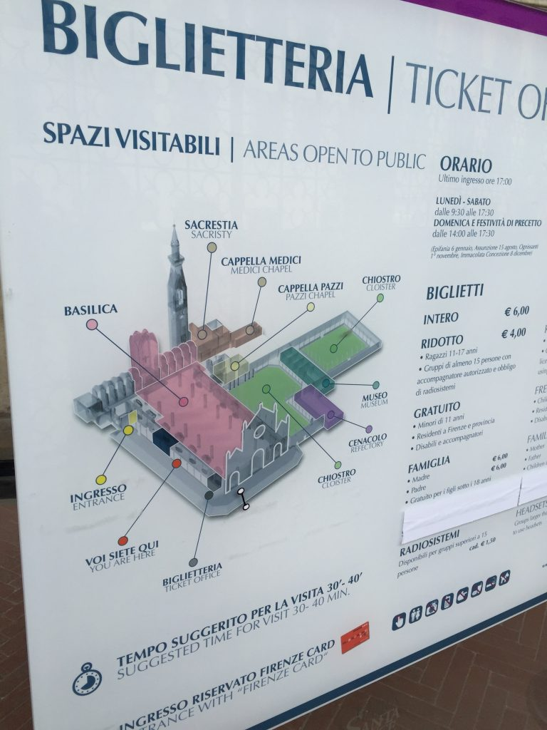 The layout of Santa Croce. Most of it is accessible to the public, and reasonably priced compared to a lot of places.