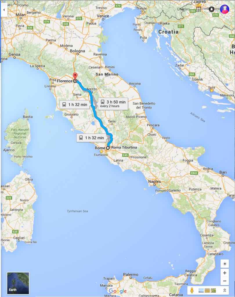 A fortunately comprehensive map, you can see not only the route I took, but also other major Italian cities, and my later route out through Bologna (north), down to Ancona on the coast, Split on the other side of the Adriatic, and Zagreb in the north east.