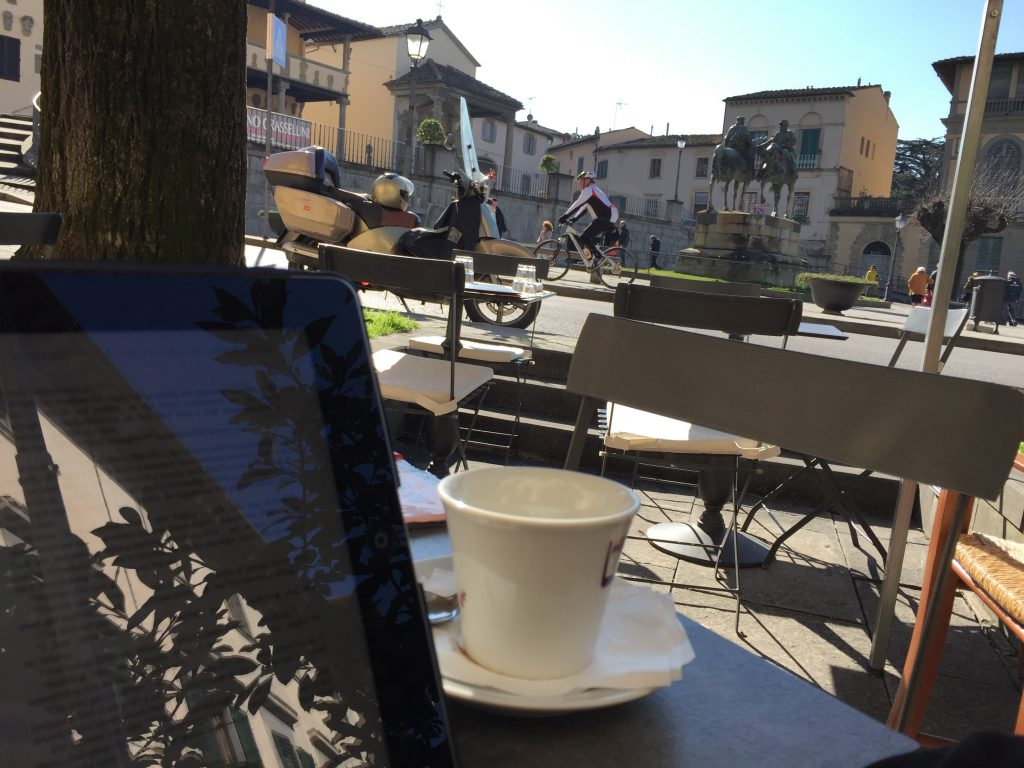 Had a coffee and a bit of pastry and a rest, in the central town square. It was moderately busy and entirely pleasant.