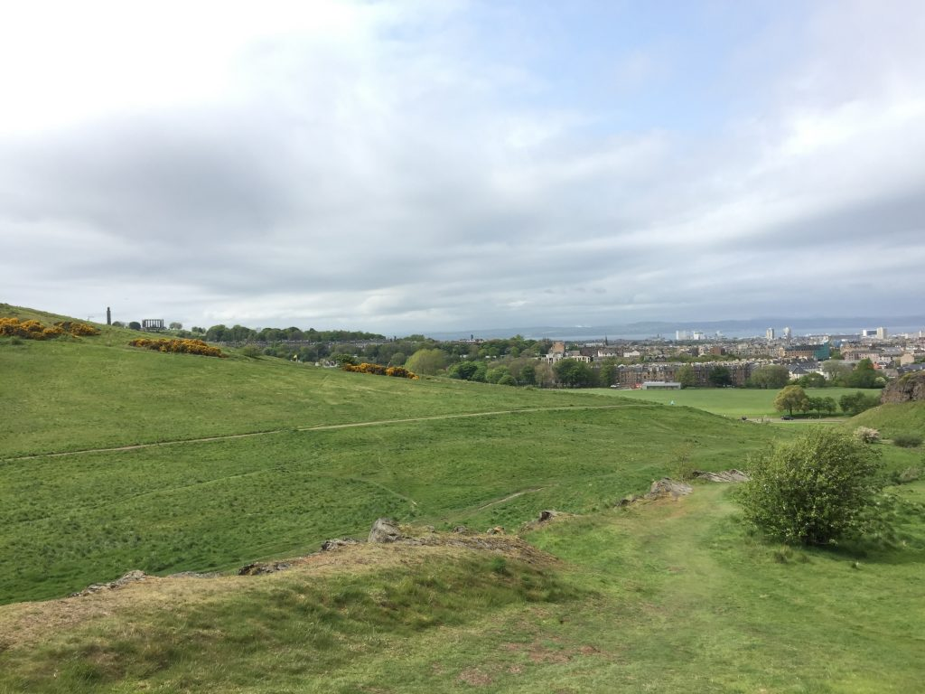 I went down the eastern side of Arthur's Seat on the way back, partly for a different route and partly in the hopes of a shallower one that would be easier on my knees. You can see a bit of Calton Hill to the left, with the Burns monument on the top. It's very green.