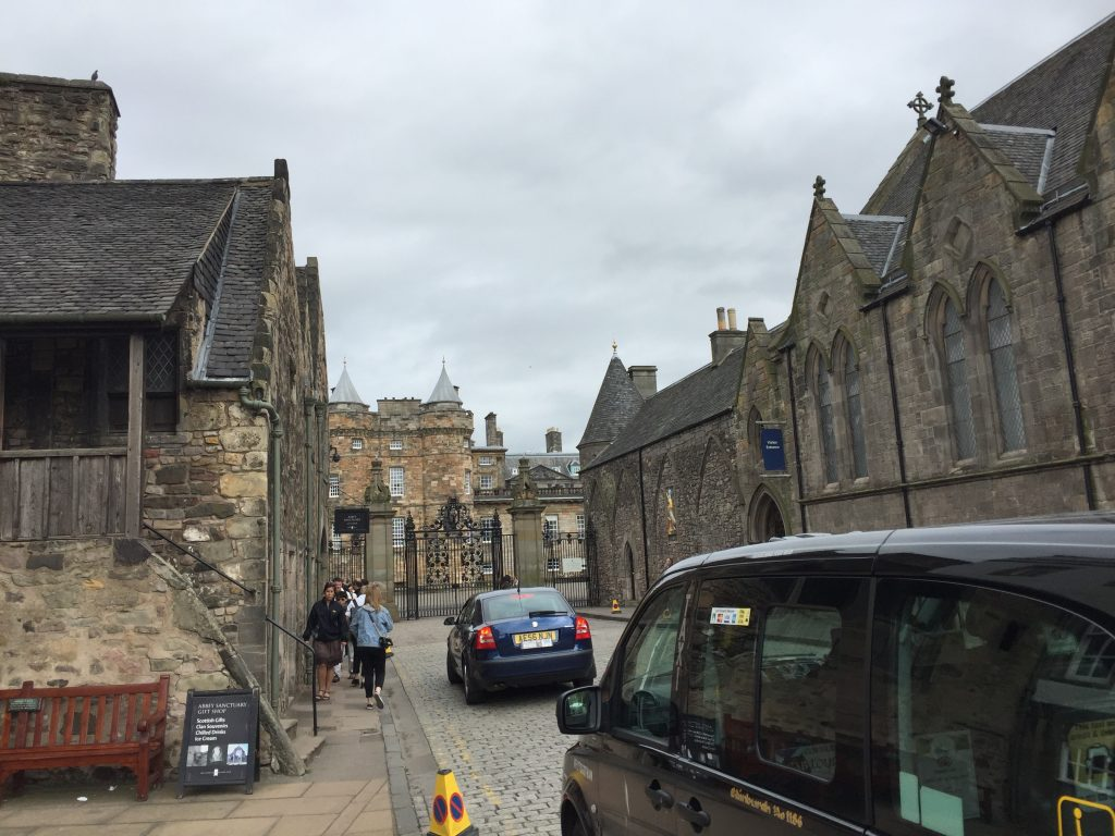 My place was pretty much straight north from there, and I passed Holyrood Palace, where the Queen stays when she's in Edinburgh. They must have a lot of unused rooms there the rest of the time; they should Airbnb them. It just makes sense.