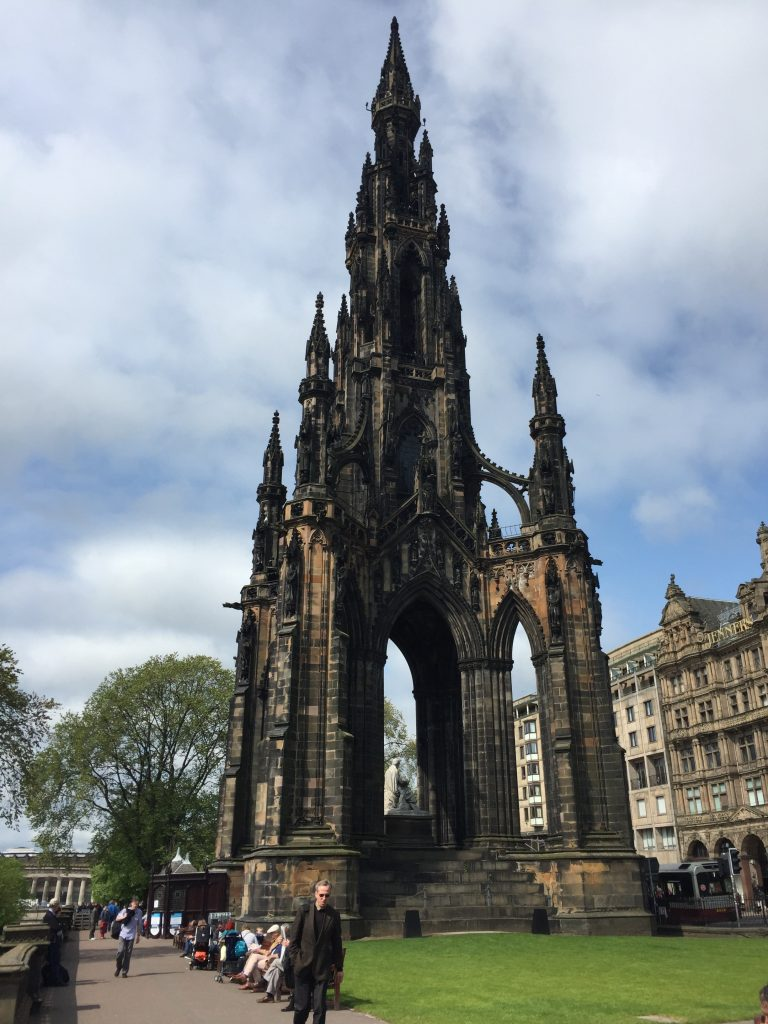 After getting off the tour bus, back at Waverley Station, I started retracing its route, walking west along Princes Street and the Princes Street gardens. The Sir Walter Scott Monument is one of the primary constructions here (my photo from the bus wasn't nearly as good).