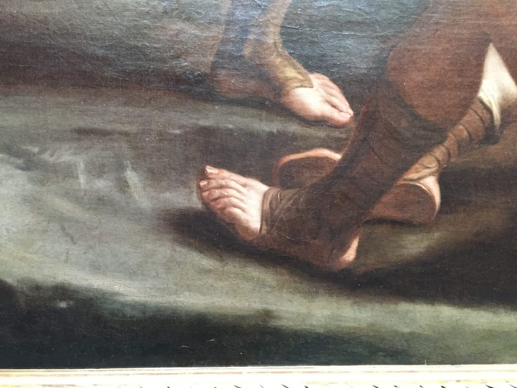 "Gods damn, dude. I know feet are hard to draw and all, but seriously with those toes! There are chimpanzees going, ""I feel so inadequate now"". (Art museum chimps. All the best galleries have them.)"
