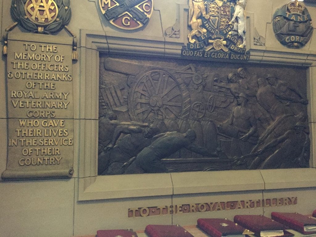 In the war memorial, where a plaque honoring veterinarians seems to depict them loading animals into the guns to fire at the enemy. I guess, if you're out of other ammo, but it seems a bit haphazard. (Everything and the kitchen skink.)