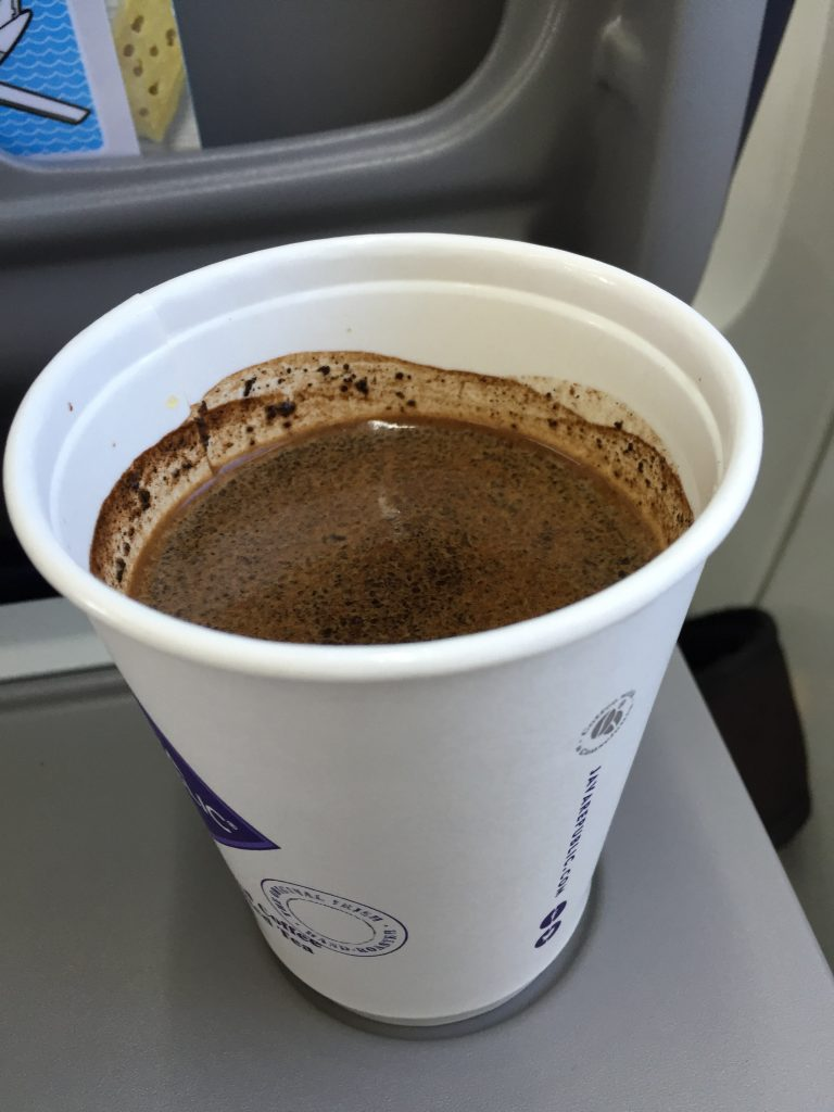 And airplane coffee made with actual grounds! It's a bloody miracle! (They wanted Euros, the currency of Ireland, but thankfully took pounds, which were what I had handy.)