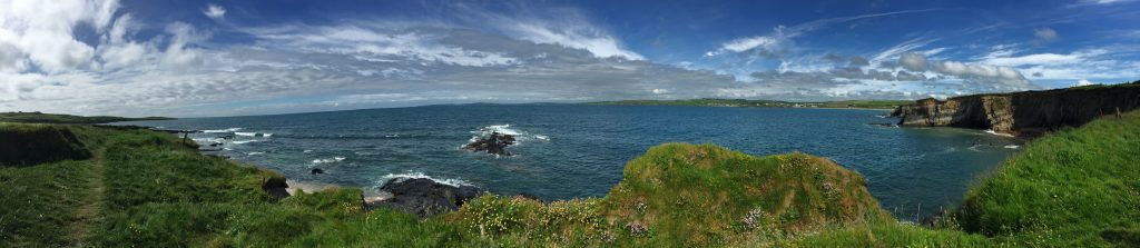 From a spot along the cliffs, a bit north up the coast, looking mostly west.