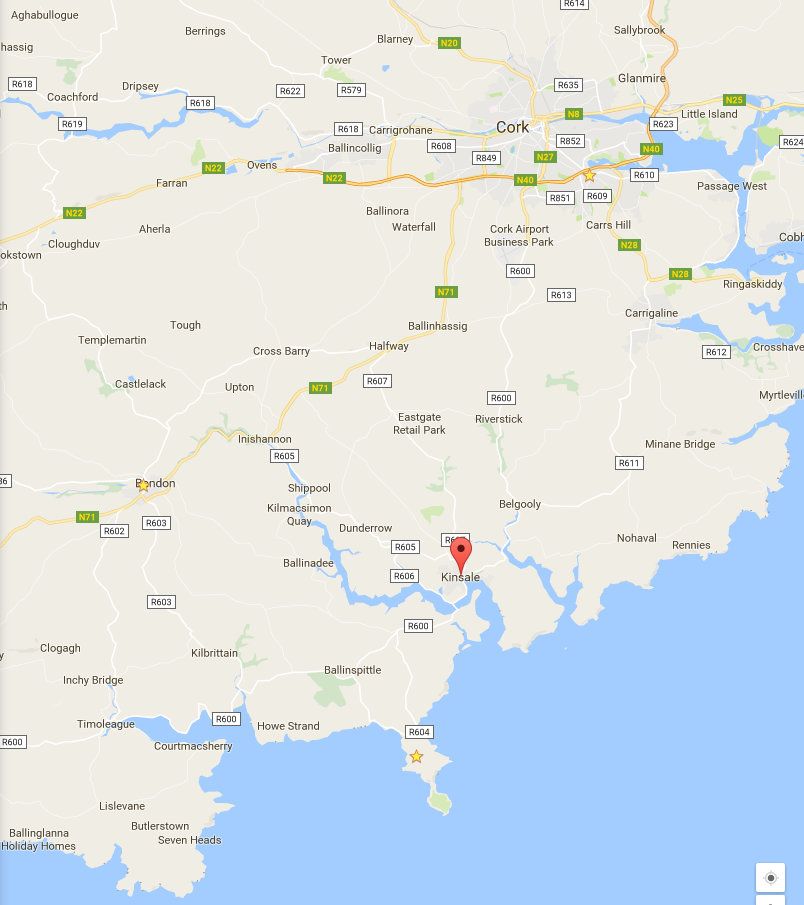 The peninsula I'm on is in the south center, with the star on it. Kinsale, to the north, has the pin, about a 17 minute drive away (or a 2 hour walk down roads with no sidewalks -- no thanks!), and Cork is a 50 minute drive north.
