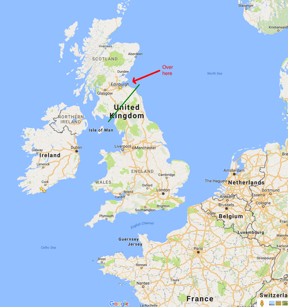 The United Kingdom is made up of England, Scotland, Wales, and Northern Ireland. This Google Map view doesn't make the England/Scotland border obvious, so drawn a rough approximation in green. Edinburgh is the capital of Scotland, just a little ways north of the border.