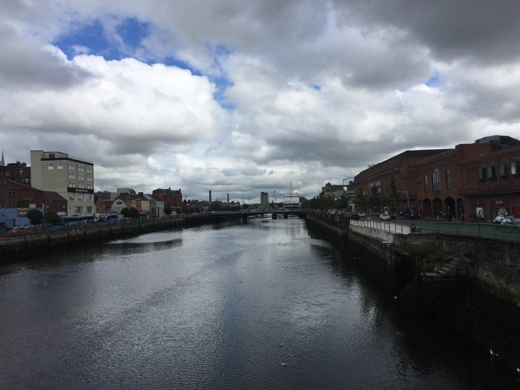 The upper branch of the River Lee, facing east, with the main bus terminal a block or so down on the right and the Dublin (et al.) bus area that I wanted on the left.