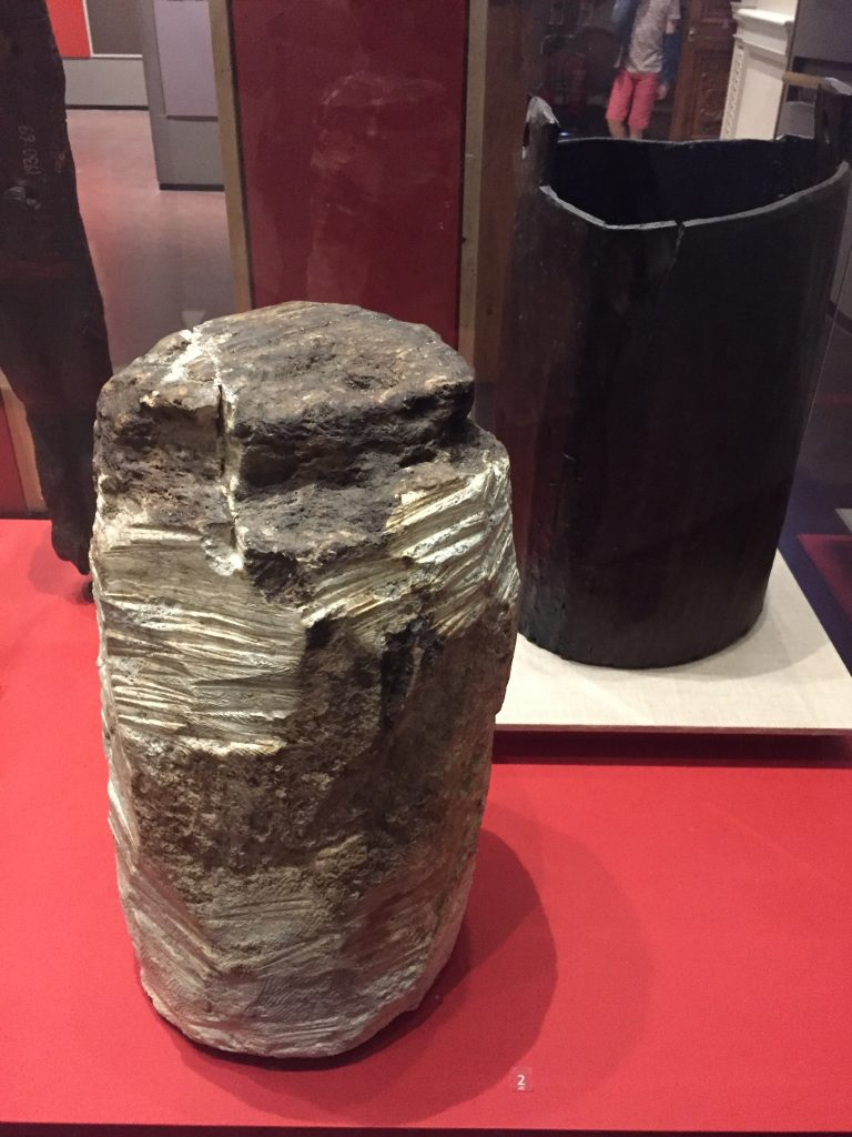 Bog Butter, which I'd heard of before: great lumps of butter buried either for storage or as offerings. Some of it is still edible, thanks to the oxygen-free environment of the bog. Not this bit, I'm guessing.
