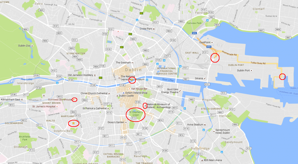 A map of the center of Dublin, with a few points of interest circled. I was staying at the star circled at the lower left. The bus dropped me off at the circled star in the center of the map (not far from the National Leprechaun Museum -- but more on that later).